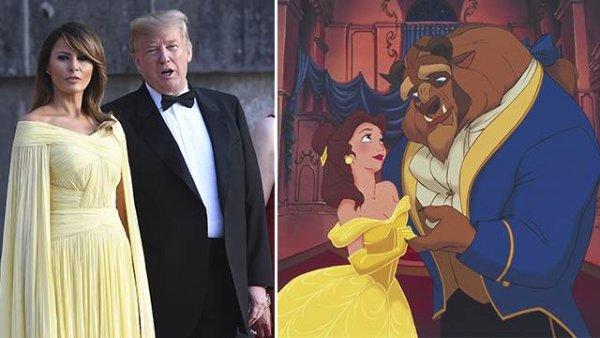 «Красавица и чудовище»: в Сети высмеяли платье Меланьи Трамп на приёме в Лондоне