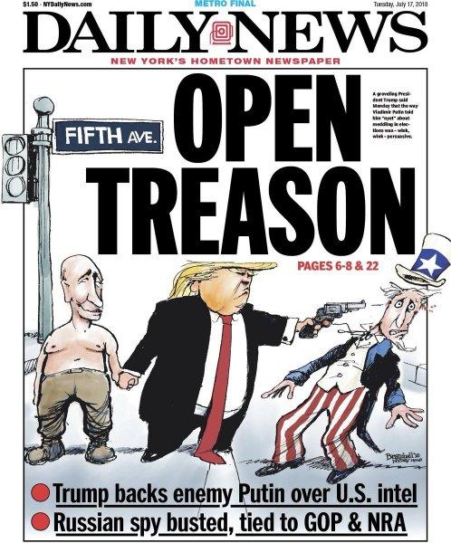 Daily News показал Трампа, убивающего с Путиным Дядю Сэма