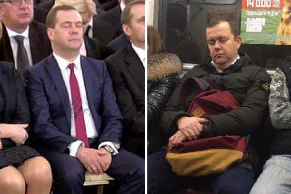 «Опять спит»: Двойника Дмитрия Медведева высмеяли в метро Санкт-Петербурга