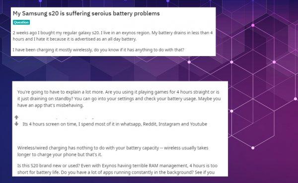 Владельцы Samsung Galaxy S20 жалуются на проблемы с батареей
